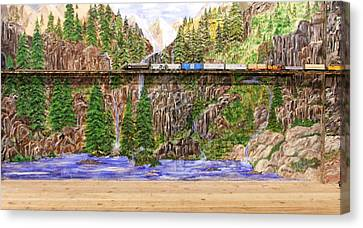Canvas Print featuring the painting Traveling The Rails Wall Mural by Alethea McKee