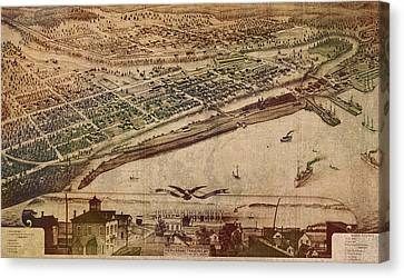 Traverse City Michigan Vintage 1879 Map Aerial View Of Grand Traverse Bay On Worn Parchment Canvas Print by Design Turnpike