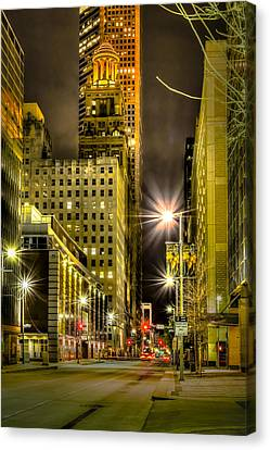 Travis And Lamar Street At Night Canvas Print by David Morefield