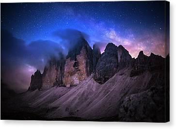 Universe Canvas Print - Tre Cime De Lavaredo At Night by Dr. Nicholas Roemmelt