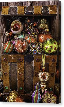 Treasure Box With Christmas Ornaments Canvas Print by Garry Gay
