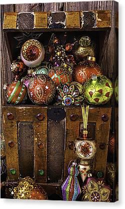 Treasure Box With Christmas Ornaments Canvas Print