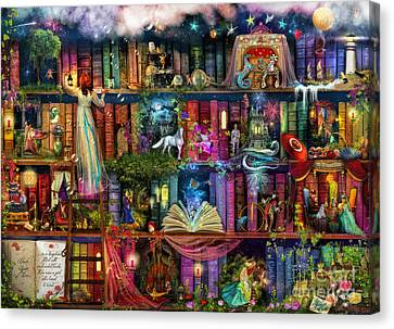 Illustrations Canvas Print - Fairytale Treasure Hunt Book Shelf by Aimee Stewart