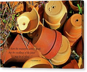 Canvas Print featuring the photograph Treasure In Clay Pots by Larry Bishop