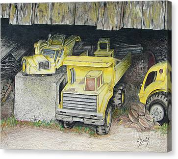 Old Barn Drawing Canvas Print - Treasures Under The Barn by Lew Davis