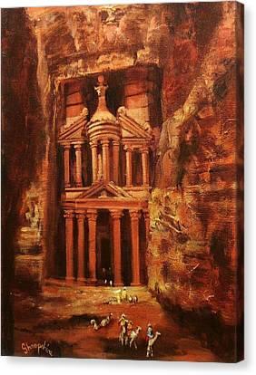Jordan Canvas Print - Treasury Of Petra by Tom Shropshire