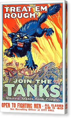Treat 'em Rough Vintage Us Army Poster Canvas Print by Gary Bodnar