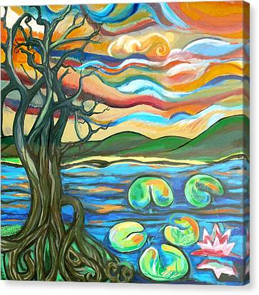 Branch Hill Pond Canvas Print - Tree And Lilies At Sunrise by Genevieve Esson