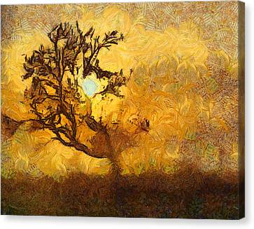 Tree At Sunset - Digital Painting In Van Gogh Style With Warm Orange And Brown Colors Canvas Print by Matthias Hauser