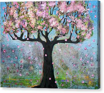 Tree Blossoms And Bluebirds Canvas Print by Blenda Studio