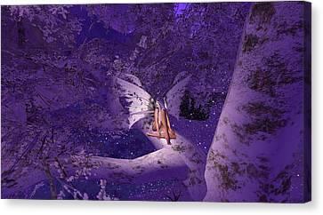 Tree Fairy In Snow Canvas Print