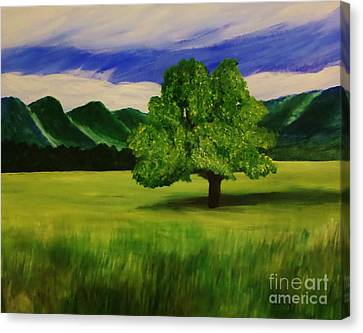 Tree In A Field Canvas Print by Christy Saunders Church