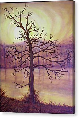 Tree In Gold Landscape Canvas Print by Jan Wendt