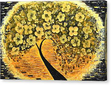 Tree In Golden Canvas Print by Mariana Stauffer