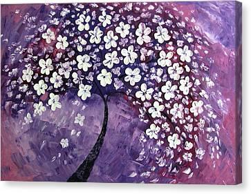 Tree In Purple Canvas Print by Mariana Stauffer