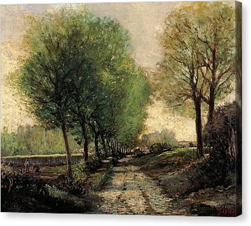 Tree-lined Avenue In A Small Town Canvas Print by Alfred Sisley