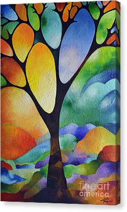 Tree Of Joy Canvas Print by Sally Trace