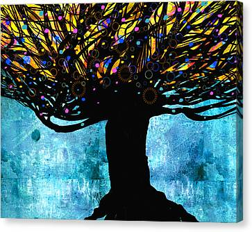 Tree Of Life Blue And Yellow Canvas Print by Ann Powell