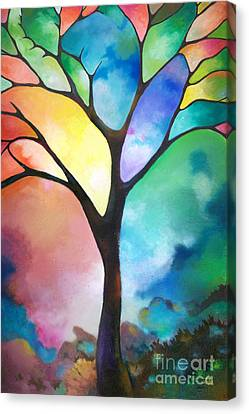 Original Art Abstract Art Acrylic Painting Tree Of Light By Sally Trace Fine Art Canvas Print by Sally Trace