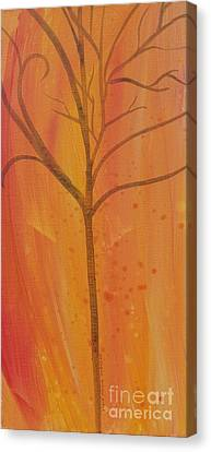 Canvas Print featuring the painting Tree Of Three Coral by Robin Maria Pedrero