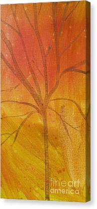 Canvas Print featuring the painting Tree Of Three Gold by Robin Maria Pedrero