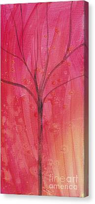 Canvas Print featuring the painting Tree Of Three Pink by Robin Maria Pedrero