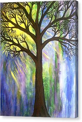 Tree On Blue  Canvas Print by Christine Chase