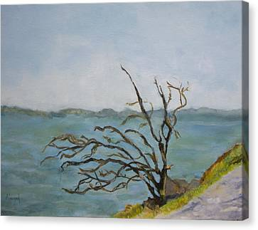 Canvas Print featuring the painting Tree On The Hudson River by Aleezah Selinger
