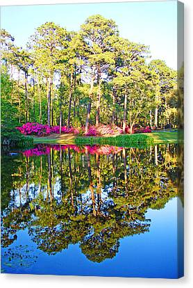Tree Reflections And Pink Flowers By The Blue Water By Jan Marvin Studios Canvas Print