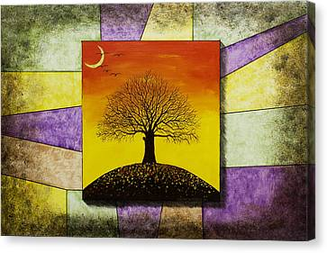 Tree Silhouette And Crescent Moon At Sunset Painting Canvas Print by Keith Webber Jr