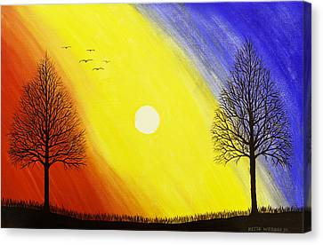 Tree Silhouette At Sunset Painting Canvas Print by Keith Webber Jr