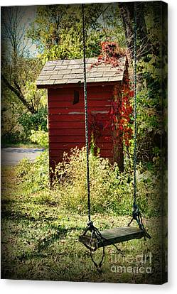 Tree Swing By The Outhouse Canvas Print by Paul Ward