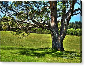 Tree With A Swing Canvas Print by Kaye Menner