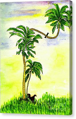 Canvas Print featuring the painting Tree With Birds by Mukta Gupta