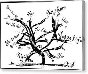 Tree Yes Tree Canvas Print by Go Van Kampen