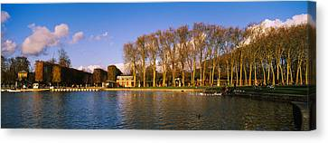 Trees Along A Lake, Chateau De Canvas Print by Panoramic Images