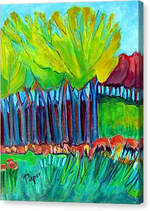 Trees And Meadow Canvas Print by Betty Pieper