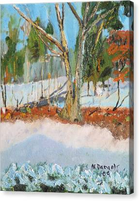 Trees And Snow Plein Air Canvas Print by Michael Daniels