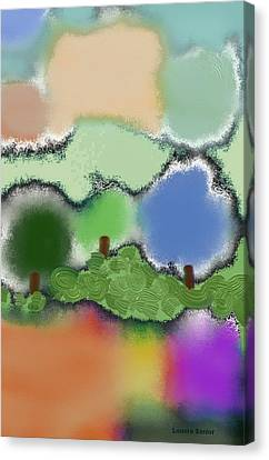 Trees Between Land And Sky Canvas Print by Lenore Senior