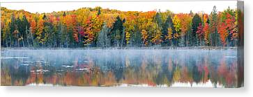 Trees In Autumn At Lake Hiawatha, Alger Canvas Print by Panoramic Images
