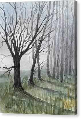 Trees In Fog Canvas Print by Rebecca Davis