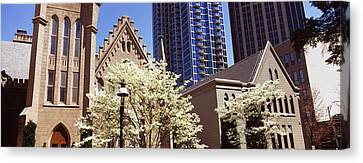 Trees In Front Of A Building Canvas Print by Panoramic Images