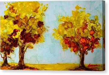 Trees In The Fall Canvas Print by Patricia Awapara
