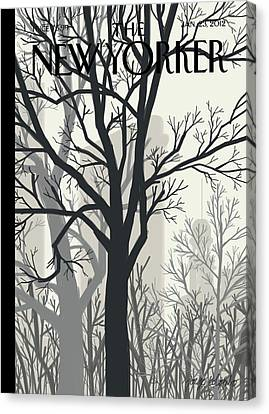 Trees On A Gloomy Day With A Faint View Canvas Print