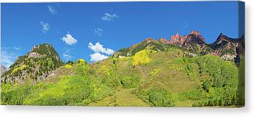 White River Scene Canvas Print - Trees On Mountain, Maroon Bells, Maroon by Panoramic Images