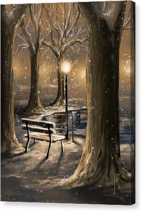 Park Scene Canvas Print - Trees by Veronica Minozzi