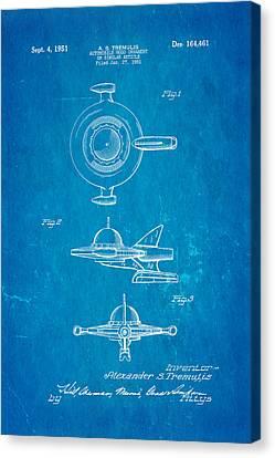 Tremulis Spaceship Hood Ornament Patent Art 1951 Blueprint Canvas Print by Ian Monk