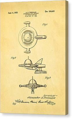 Tremulis Spaceship Hood Ornament Patent Art 1951 Canvas Print by Ian Monk