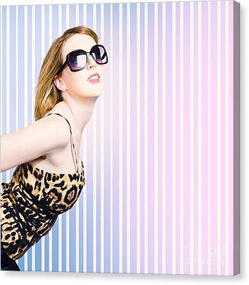 Trendy Fashion Model Wearing 80's Attire Canvas Print by Jorgo Photography - Wall Art Gallery