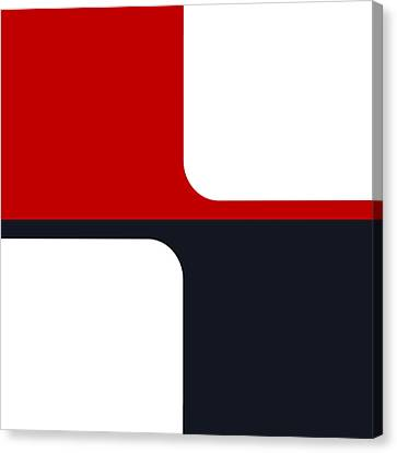 Canvas Print featuring the digital art Trendy White Red And Navy Graphic Color Blocks by Tracie Kaska